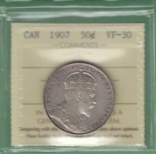 1907 Canadian 50 Cents Silver Coin - ICCS Graded VF-30
