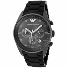 Emporio Armani Chronograph Men's Watch Silicon Black AR5889 Stainless New In Box