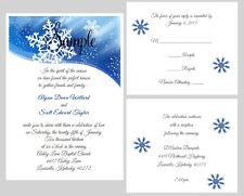 100 Personalized Custom Winter Blue Snowflake Bridal Wedding Invitations Set