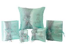 5 pc Aqua Quinceanera Set Mis Quince Set Pillows Guest Book Photo Album Bible