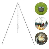Tripod Camping Outdoor Cooking Campfire Picnic Pot Cast Iron BBQ Fire Grill Oven