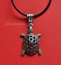 Antique Silver Plt Turtle Pendant Necklace Ladies Girls Mens Gift Marine Biology