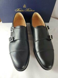 BROOKS BROTHERS Mens sz. 8 M Saddle Monk Strap Black Dress Shoes Italy New Fr Sh