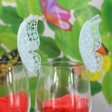 Lot 50 Marque Place Papillon Mariage Carte Nom Art Déco Verre Table Bleu
