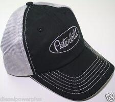 peterbilt white black embroidered mesh summmer trucker semi diesel truck hat cap