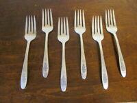 Oneida BIRD OF PARADISE Set of 6 Salad Forks Community Silverplate Flatware F