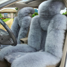 2 X Australian Sheepskin Fur Breathable Car Front Seat Cover Protector Cushion