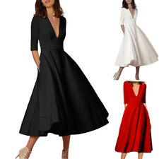 Women V-neck Prom Dress Cocktail Party Ball Gown Evening Bridesmaid Long Dress