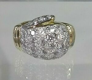 9ct Gold Boxing Glove Gents Ring REAL GOLD size Y Diamond Simulants  *Fantastic*