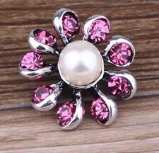 Pink Rhinestone flower Pearl Charm Chunk Snap Button fit for Noosa Bracelet