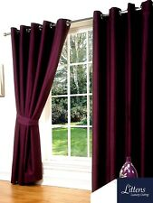 "90"" x 90"" Aubergine Faux Silk Pair Curtains Eyelet, Ring Top, Lined Inc Tiebacks"
