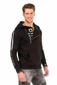 Cipo & Baxx Herren Kapuzen Pullover Sweat Hoodie Label Extravagant Schwarz Gr.XL