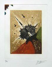Gravure signée numérotée de Georges DUSSAU ciel oblique au revers du jour 1980 *