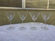 "Oberglas Stolzle Austria 7"" Martini Glasses Etched Logo on Base Set of 4"