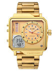 Mens Fashion Analog-Digital Watch Daul Time Stainless Steel Band Gold Dial
