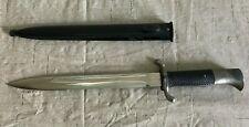 """Vintage Solingen Dagger Knife 9.75"""" Blade 14.75"""" Overall Hard Black Sheath"""