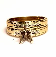 14k yellow gold .045ct semi mount diamond engagement ring wedding band set 4.8g