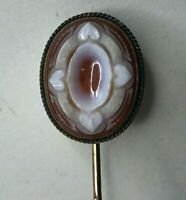 Antique Victorian Rolled gold & Carved hardstone  Sweetheart Hat Pin
