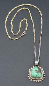 Pendentif en Argent 925 Sterling Silver et Grosse Turquoise Tibet et sa Chaine