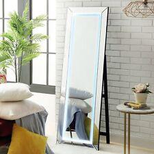 Led Full Length Floor Standing Mirror with Touch Sensor Light Foldable Frame