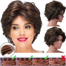 Womens Short Curly Wavy Brown Bob Wigs Heat Resistant Hair Full Wig Synthetic