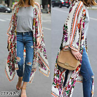 Women's Loose Blouse Summer Casual Boho Chiffon Coat Shawl Kimono Cardigan Tops