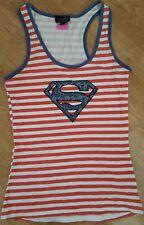 Topshop Superman Supergirl Vest Top Sleeveless Shirt Red White Stripe Size UK 12