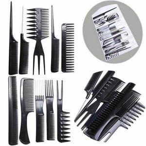 10Pcs/Set Pro Salon Hair Styling Hairdressing Plastic Barbers Brush Combs