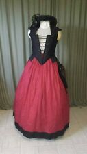 Used Custom Handmade Renaissance Dress Black/Red Twill w/Hat and Pouch