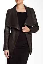 $750 Elie Tahari Isabelle Brushed Leather Jacket Coat /Dark Green NWT Sz XS