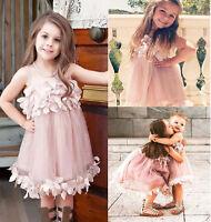 US Stock Flower Kids Baby Girls Princess Petal Tulle Party Formal Dress 0-7Y
