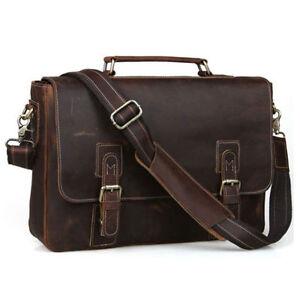 Men Genuine Leather Laptop Briefcase Handbag Shoulder Bag Tote Messenger Satchel