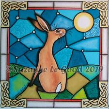 Hare moon art print stained glass from original painting mounted Suzanne Le Good