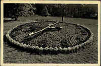1939 Stempel KOMOTAU auf Postkarte Chomutov Blumen-Uhr im Stadtpark Dt. Reich AK
