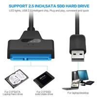 "USB 2.0 To SATA 22 Pin 2.5"" Laptop Hard Disk Drive SSD Adapter Converter Cable"