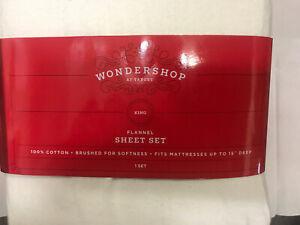 Wondershop Flannel Sheet set Sour cream king size NIP, 100% cotton (F30)