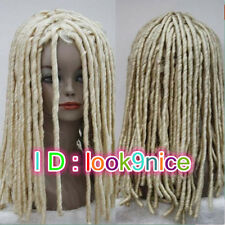 Dreadlock Style women Long Rolls Hair Drama Cosplay Costume Party Wigs blond