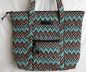 Vera Bradley Sierra Stream Villager Tote Bag Aqua Brown Geometric Essential NWOT