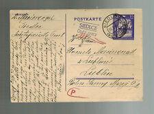 1943 Siedlce Germany Occupied Poland Ghetto Postcard Cover Judaica to Lublin
