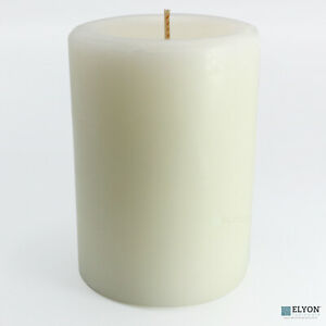 """6 White 3""""x4"""" Pillar Candles, Unscented, 40+ Hour Burn Time"""