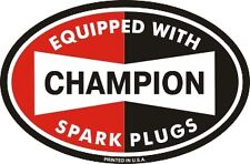 "Vintage Champion Spark Plugs oval sticker decal 4.5""x3"""