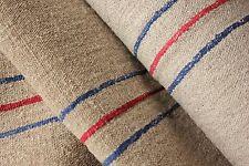 Grain sack grainsack fabric vintage linen 8.5Yds X 23 Wide red blue Hemp washed