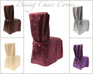 DAMASK DINING CHAIR COVERS WITH PLEATS 5 COLOURS LIVING ROOM DINING CHAIR RJ03