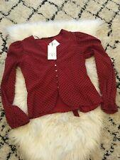 ZARA Red Black Polka Dot Shirt Blouse Voluminous Sleeves MEDIUM BNWT