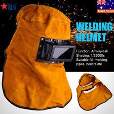 Leather Hood Welding Helmet Mask Solar Auto Darkening Filter Lens Welder