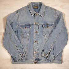 Men's WRANGLER Vintage Stonewashed Blue Denim Trucker Jacket XXL #D4302