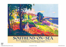 SOUTHEND ON SEA ESSEX RETRO POSTER VINTAGE RAILWAY TRAVEL ADVERTISING HOLIDAY