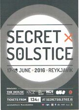 SECRET SOLSTICE MUSIC FESTIVAL Rave Flyer Flyers 2016 A5 Reykjavik Iceland