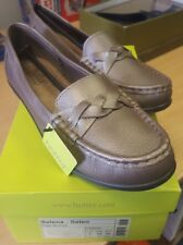 LADIES SLIP ON LEATHER SHOES BY HOTTER SELENA DESIGN UK 8 BRAND NEW PALE Bronze