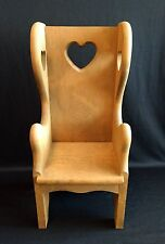 """Vintage Heavy Wooden 19"""" Tall Back Doll Chair With Heart Cut Outs"""